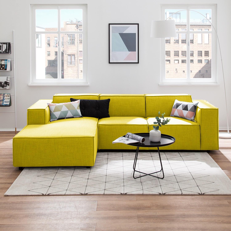 home24 Ecksofa Kinx I Gelb Webstoff 259x72x177 cm (BxHxT) Modern