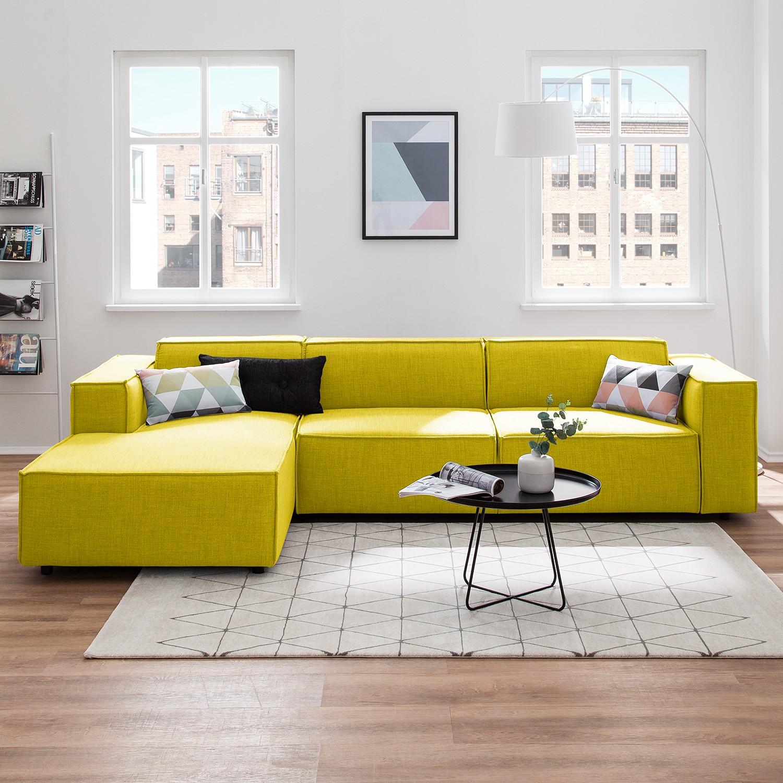 home24 Ecksofa Kinx II Gelb Webstoff 294x72x177 cm (BxHxT) Modern