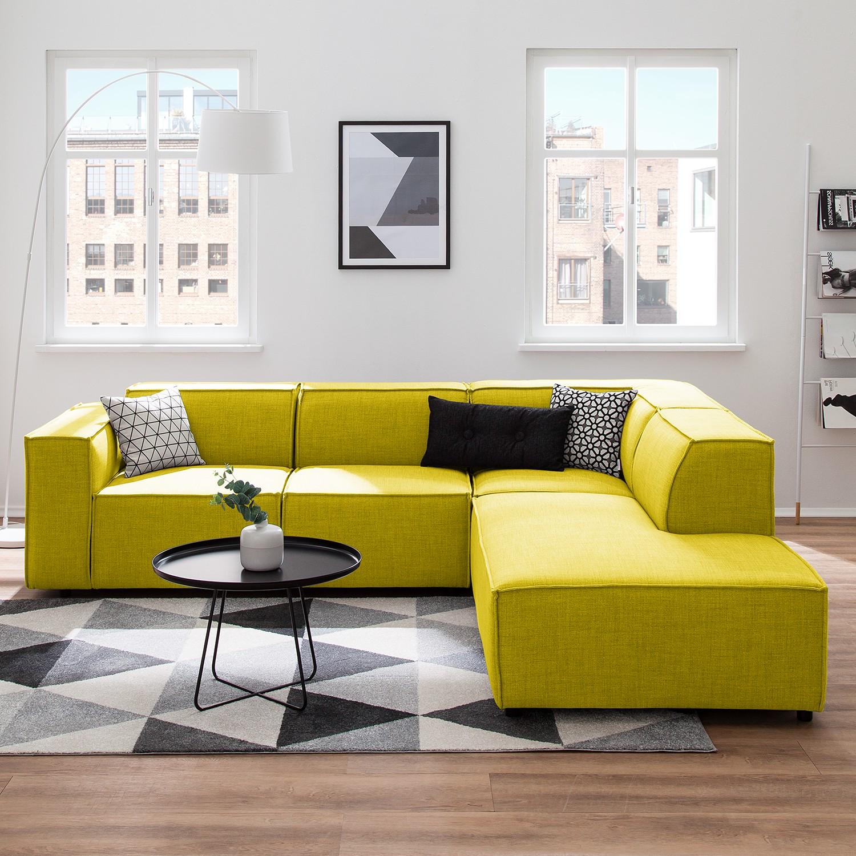 home24 Ecksofa Kinx III Gelb Webstoff 259x72x234 cm (BxHxT) Modern