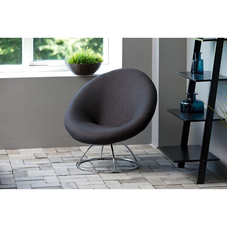 home24 Fredriks Loungesessel Lawton I Anthrazit Webstoff 85x82x82 cm (BxHxT)