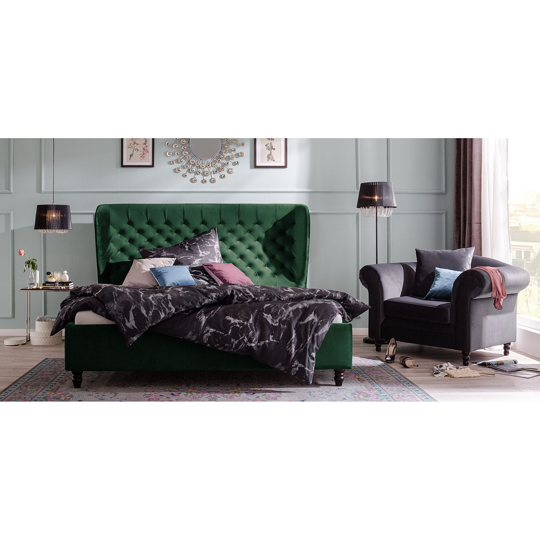 home24 Jack & Alice Polsterbett Monroe 140x200 cm Webstoff Antikgrün   Schlafzimmer > Betten > Polsterbetten