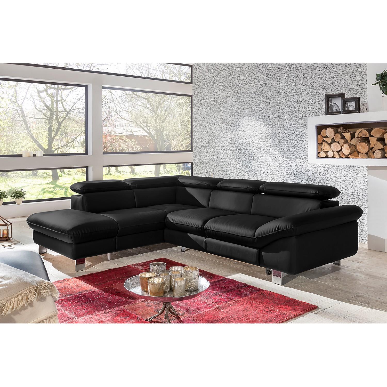 home24 Cotta Ecksofa Waiho II Schwarz Echtleder 266x91x214 cm (BxHxT) mit Schlaffunktion/Bettkasten Modern