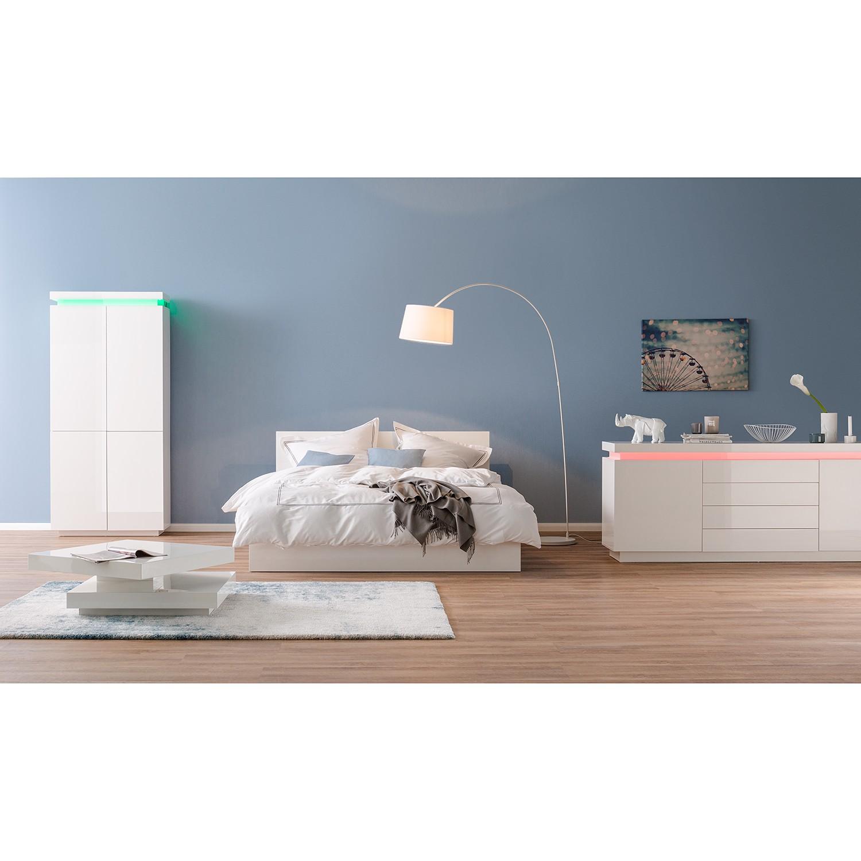 home24 Fredriks Sideboard Emblaze IV Hochglanz Weiß MDF 200x81x40 cm (BxHxT) Modern mit Beleuchtung