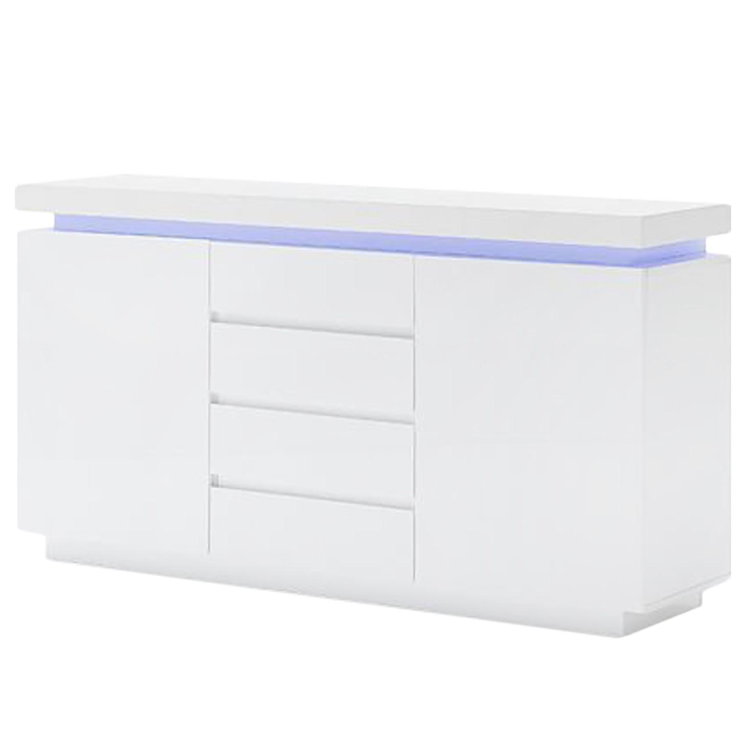 home24 Fredriks Sideboard Emblaze VII Hochglanz weiß MDF 150x81x40 cm (BxHxT) Modern mit Beleuchtung