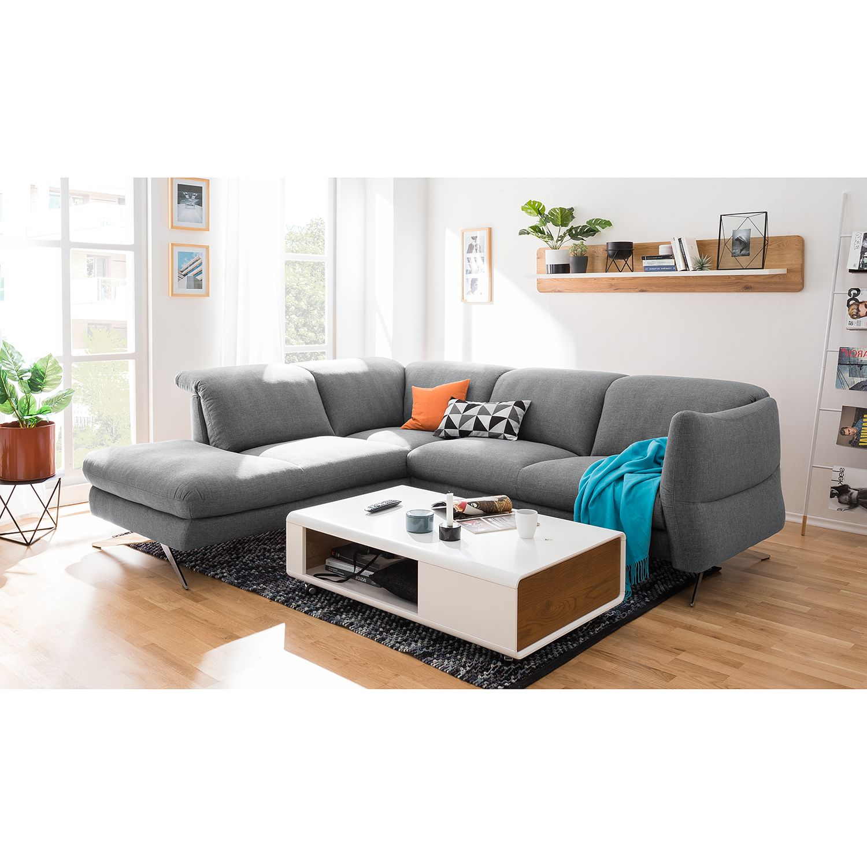 home24 loftscape Ecksofa Radway 2-Sitzer Grau Flachgewebe 286x79x111 cm
