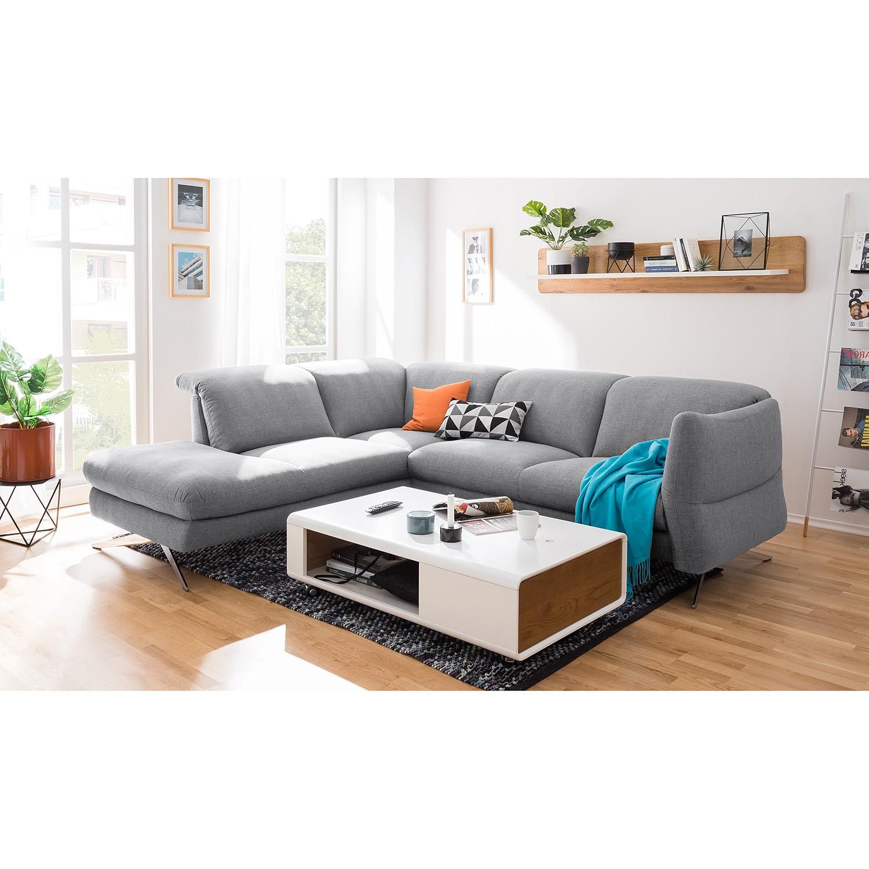 home24 loftscape Ecksofa Radway 2-Sitzer Granit Flachgewebe 286x79x111 cm