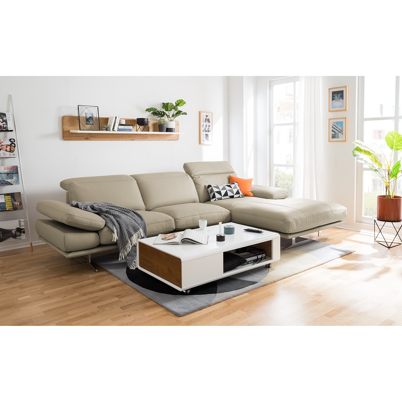 home24 loftscape Ecksofa Kingman 2-Sitzer Kaschmir Echtleder 349x80x108 cm