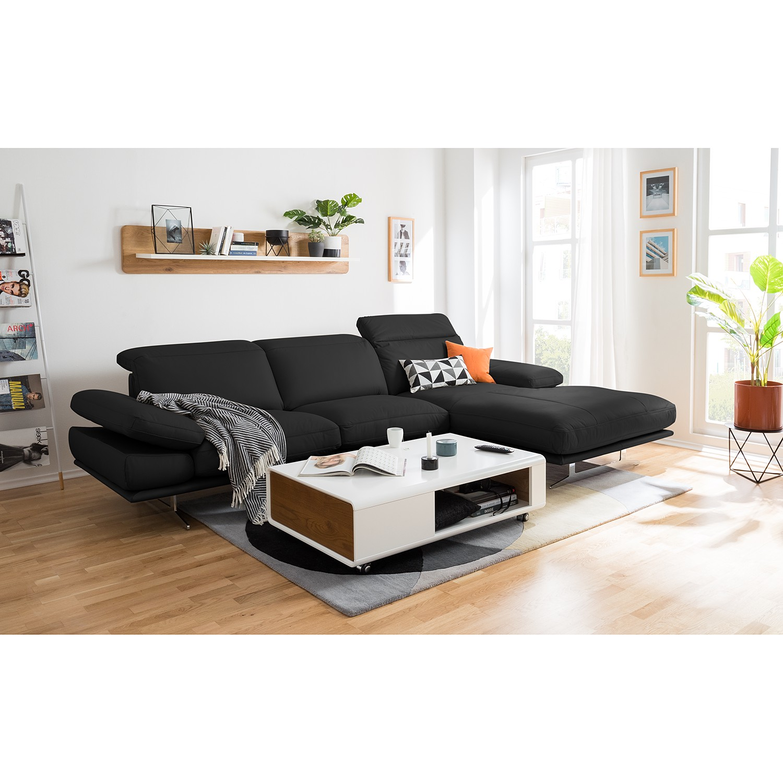 home24 loftscape Ecksofa Kingman 2-Sitzer Schwarz Echtleder 349x80x108 cm