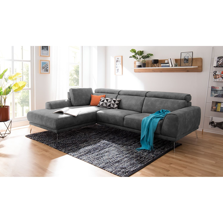 home24 loftscape Ecksofa Ryley Granit Microfaser 273x83x109 cm