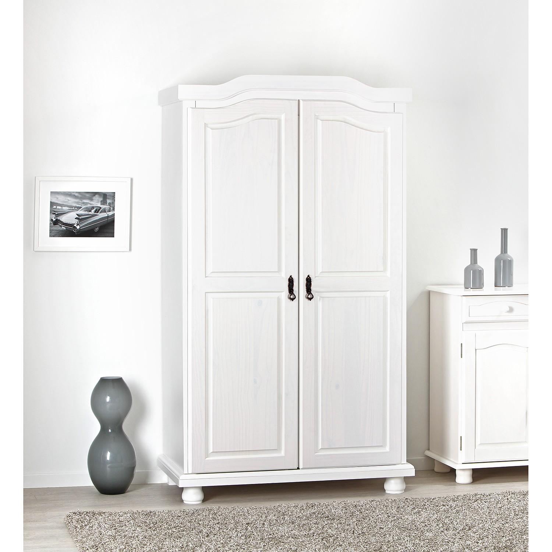 home24 Ridgevalley Kleiderschrank Hedda Weiß 104x180x56 cm (BxHxT) 2-türig Massivholz Kiefer Landhaus