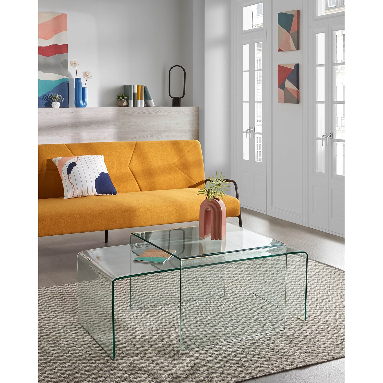 home24 Fredriks Couchtisch Drap Glas Transparent Rechteckig Modern 110x38x50 cm (BxHxT)