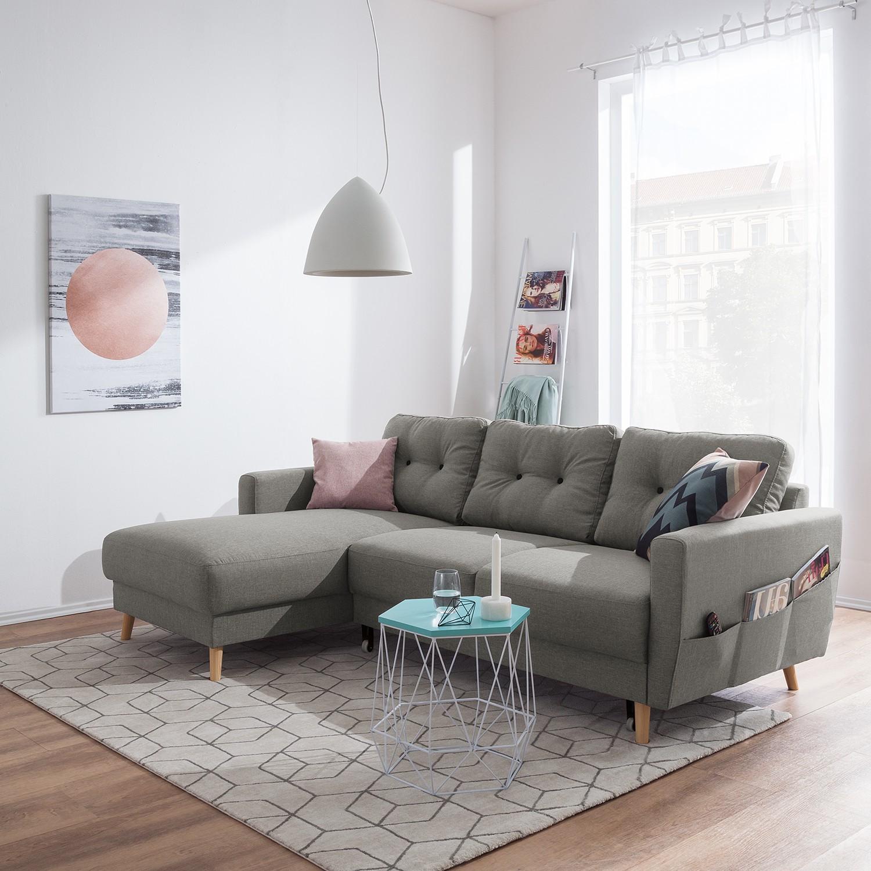 home24 Mørteens Ecksofa Sola 2-Sitzer Grau Flachgewebe 225x86x147 cm mit Schlaffunktion und Bettkasten