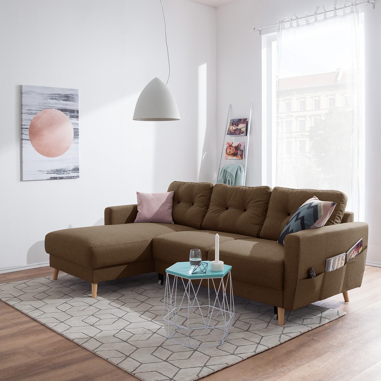 home24 Mørteens Ecksofa Sola 2-Sitzer Nougat Flachgewebe 225x86x147 cm mit Schlaffunktion und Bettkasten