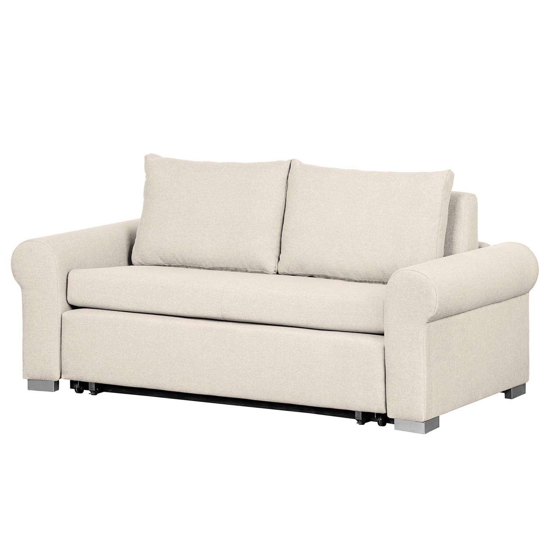 home24 mooved Schlafsofa Latina II 2-Sitzer Creme Webstoff 205x90x90 cm (BxHxT) mit Schlaffunktion/Bettkasten Landhaus