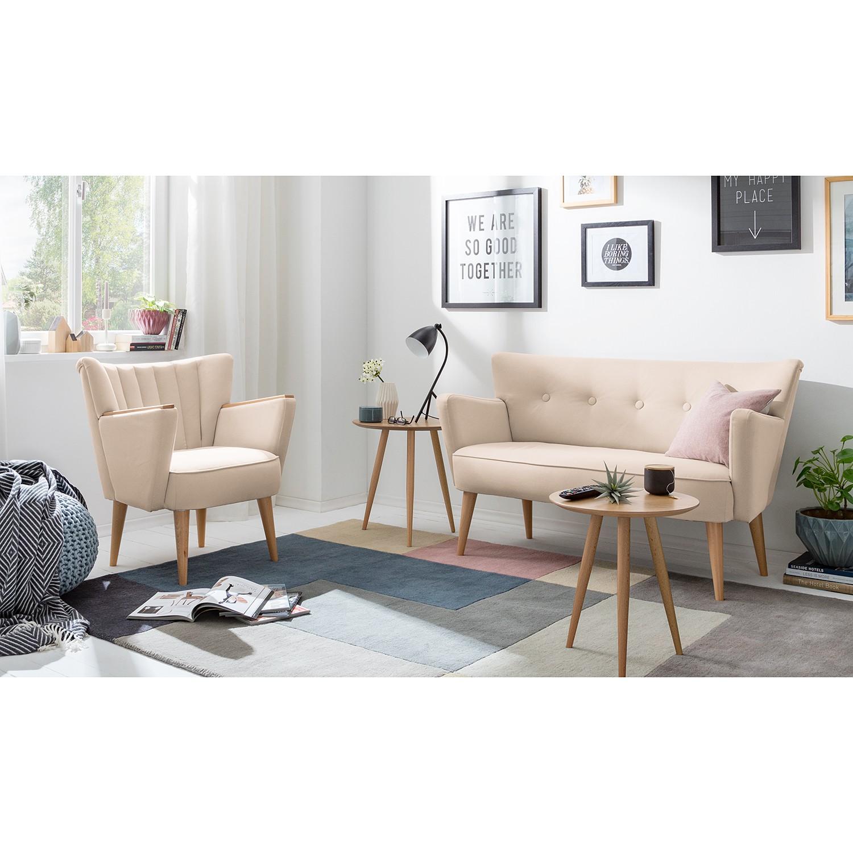 home24 Mørteens Sessel Bauro Creme Webstoff 75x80x64 cm (BxHxT)