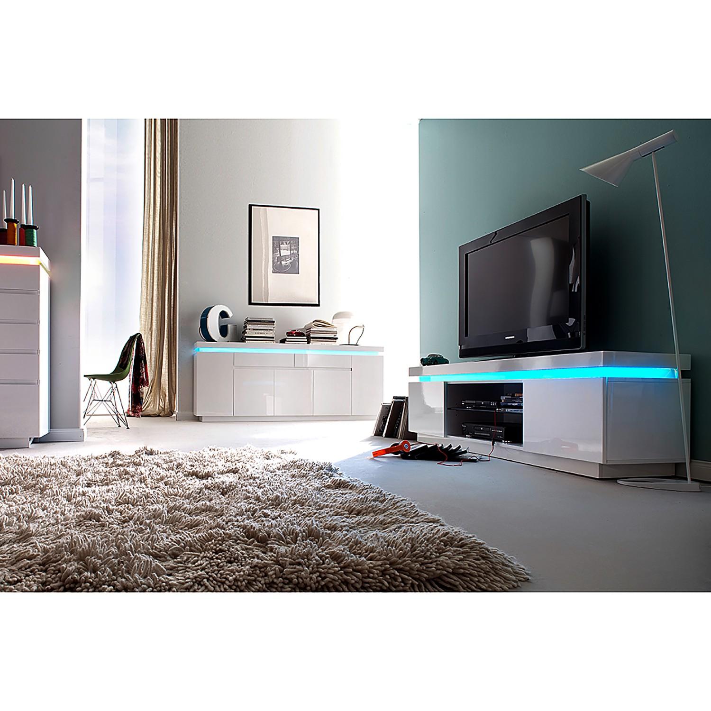 home24 Fredriks TV-Lowboard Emblaze I Hochglanz Weiß MDF 175x49x40 cm (BxHxT) Modern 2-türig mit Beleuchtung