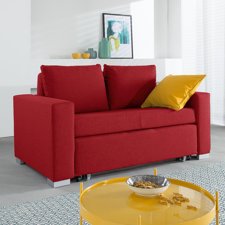 home24 mooved Schlafsofa Latina 2-Sitzer Rot Webstoff 150x90x90 cm (BxHxT) mit Schlaffunktion/Bettkasten Modern