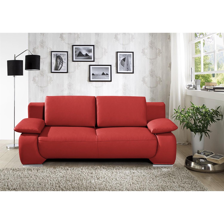 home24 Fredriks Schlafsofa Ramea 2-Sitzer Rot Echtleder 213x85x100 cm (BxHxT) mit Schlaffunktion/Bettkasten Modern