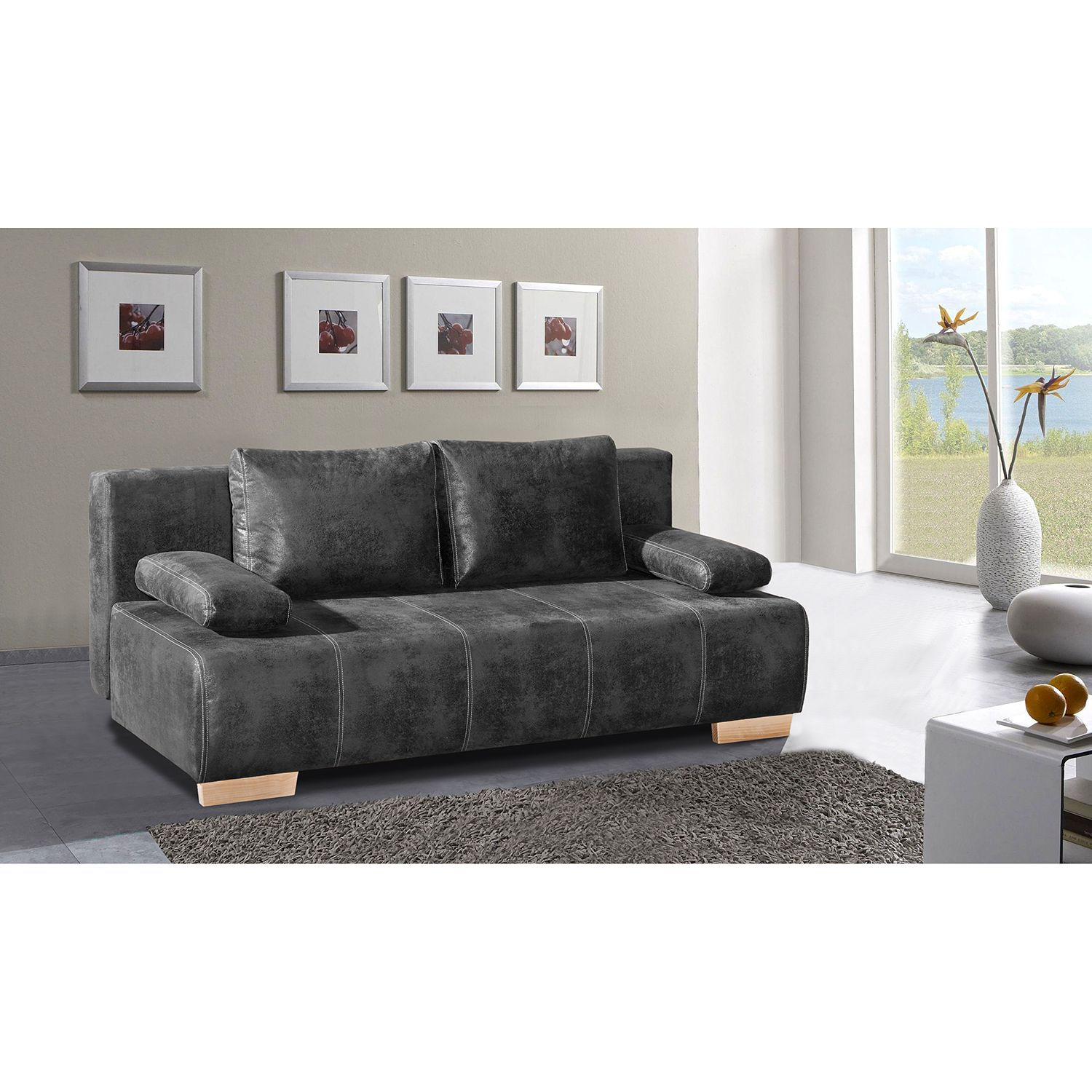 home24 Schlafsofa Ayban Antiklederlook