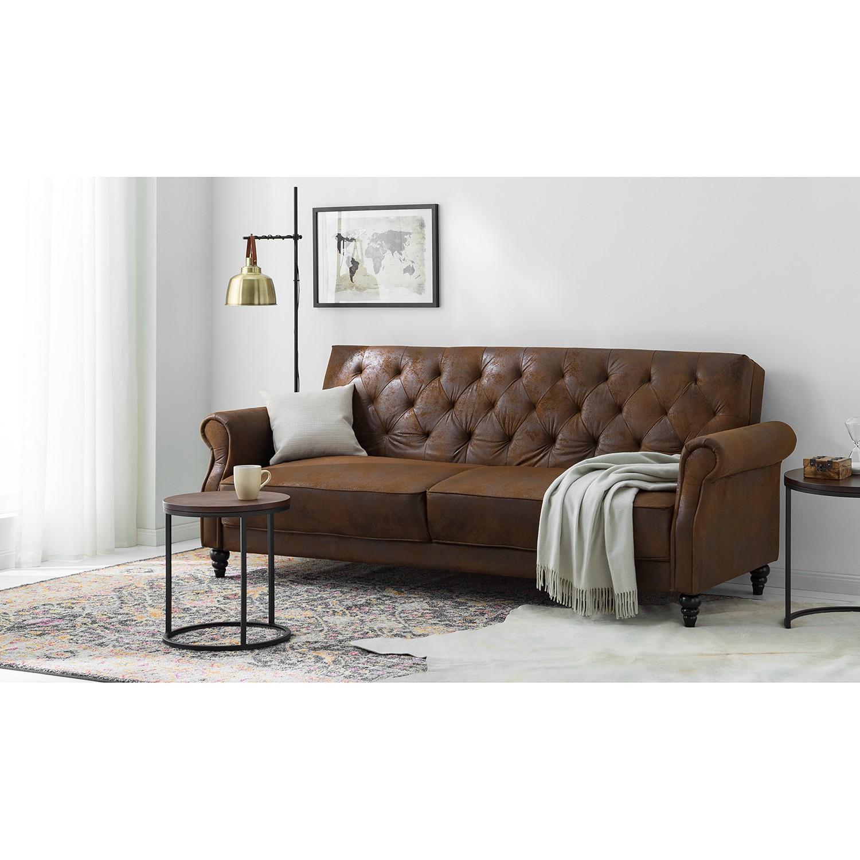 home24 ars manufacti Schlafsofa Brampton Braun Webstoff 221x83x95 cm mit Schlaffunktion
