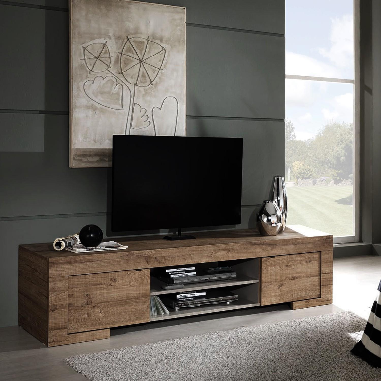 home24 LC Spa TV-Lowboard Milano LC Eiche Dunkel Dekor Spanplatte 191x45x51 cm (BxHxT) Modern