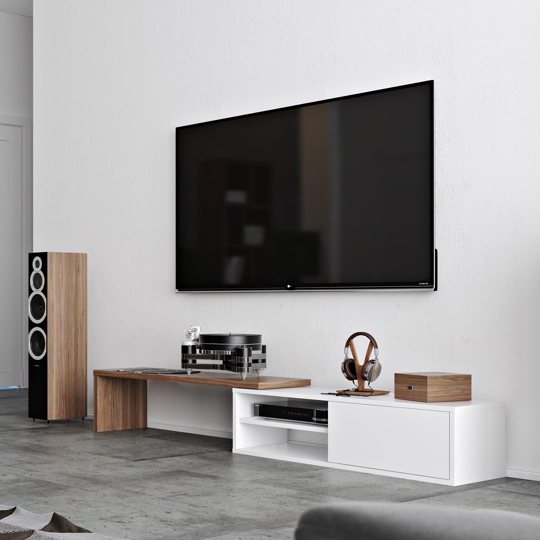TV-Lowboard ECHO - Weiß / Walnuss