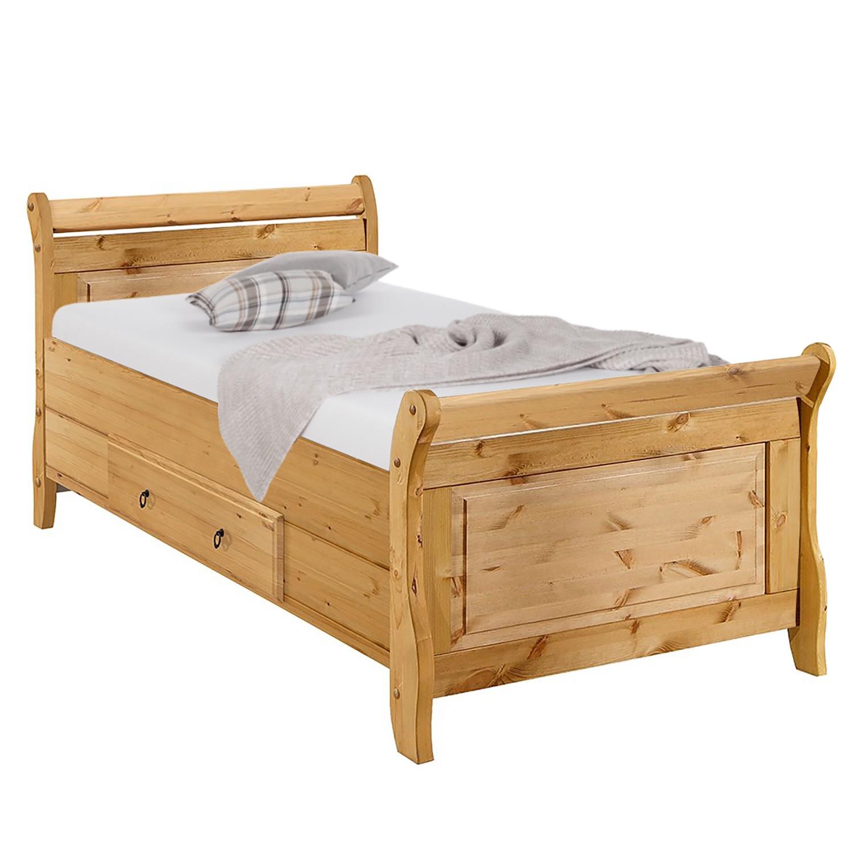 home24 Maison Belfort Massivholzbett Cenan 100x200 cm Massivholz Kiefer mit Bettkasten Landhaus