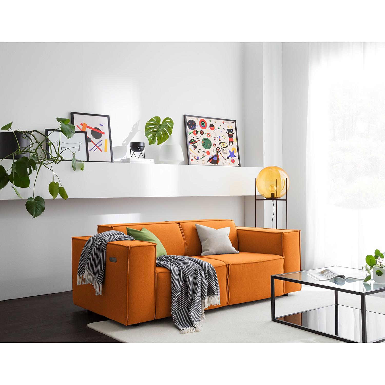 home24 Sofa Kinx 2-Sitzer Rostbraun Webstoff 189x70x96 cm (BxHxT) Modern