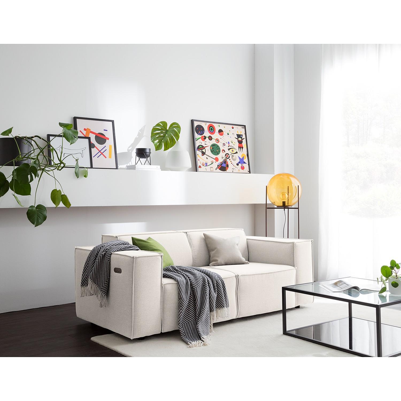 home24 Sofa Kinx 2-Sitzer Altweiß Webstoff 189x70x96 cm (BxHxT) Modern
