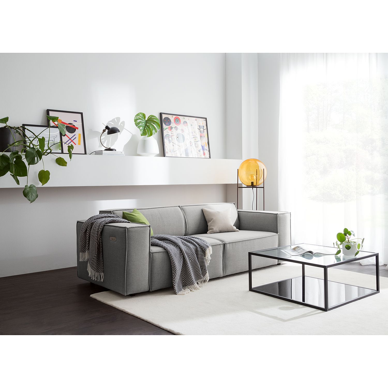 home24 Sofa Kinx 2,5-Sitzer Hellgrau Webstoff 223x70x96 cm (BxHxT) Modern