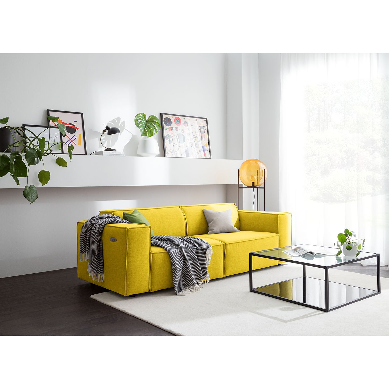 home24 Sofa Kinx 2,5-Sitzer Gelb Webstoff 223x70x96 cm (BxHxT) Modern