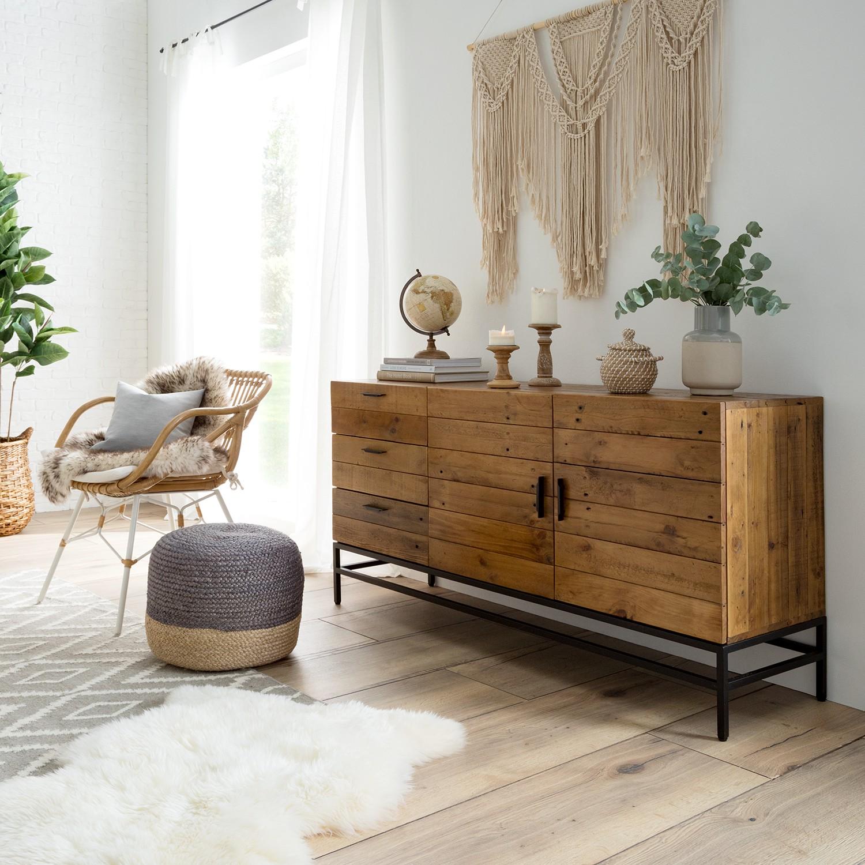 home24 ars manufacti Sideboard Grasby Dunkelbraun/Schwarz Altholz Pinie/Metall 160x80x45 cm (BxHxT) Industrial