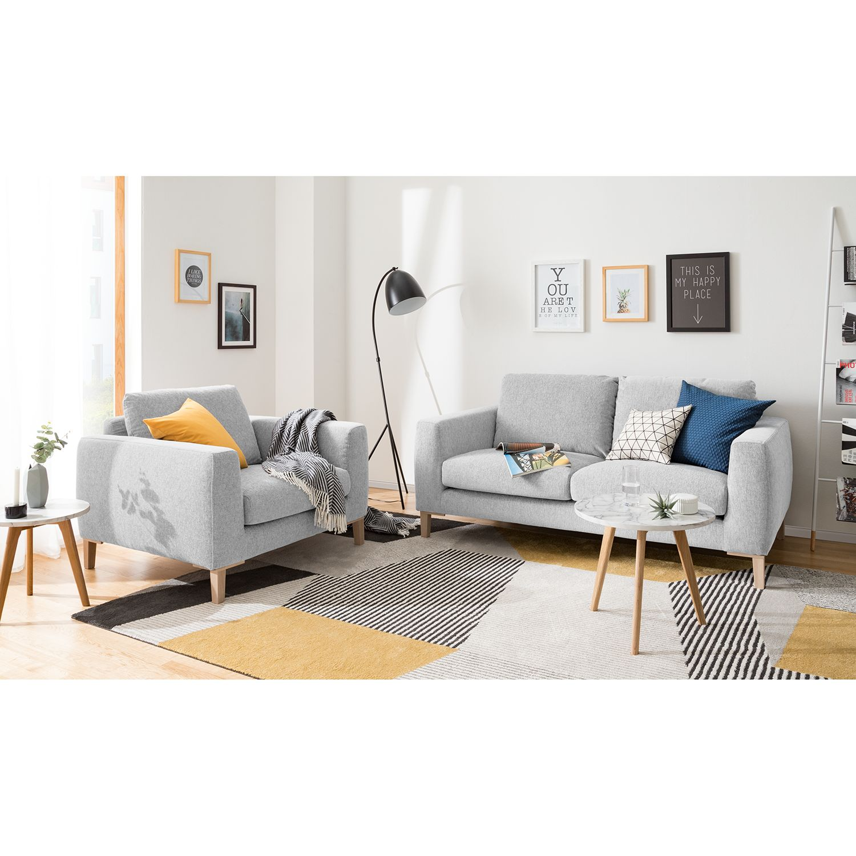 home24 Ars Natura Sessel Berilo Platingrau Strukturstoff 110x85x102 cm (BxHxT)