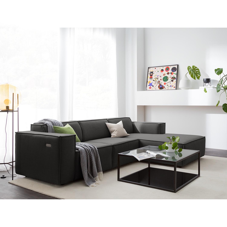 home24 Ecksofa Kinx I 2-Sitzer Anthrazit Webstoff 260x70x177 cm (BxHxT) Modern
