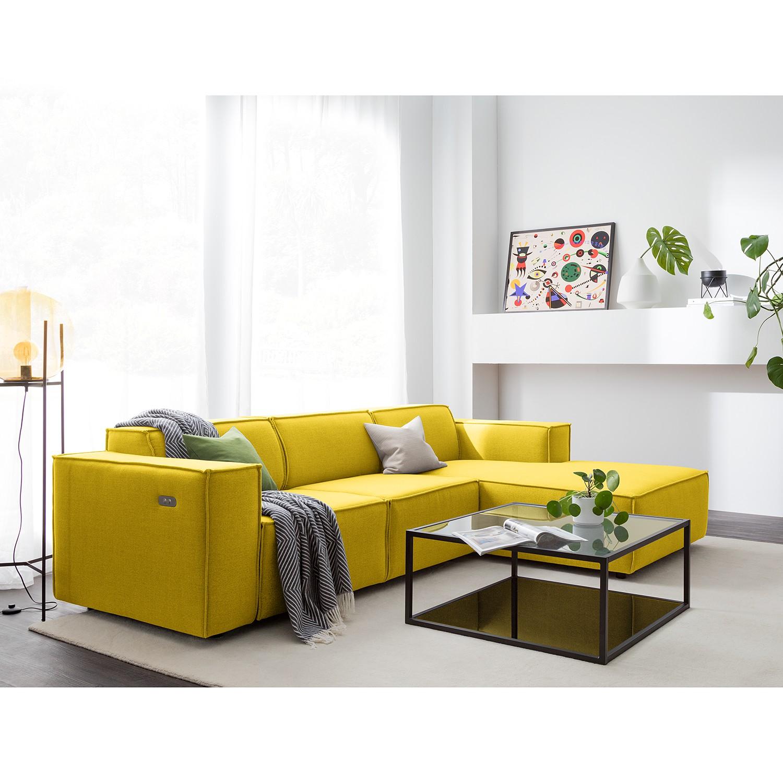 home24 Ecksofa Kinx I 2-Sitzer Gelb Webstoff 260x70x177 cm (BxHxT) Modern