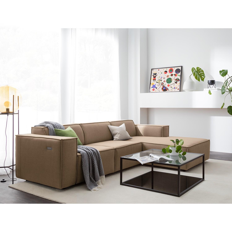 home24 Ecksofa Kinx I 2-Sitzer Grau/Braun Webstoff 260x70x177 cm (BxHxT) Modern