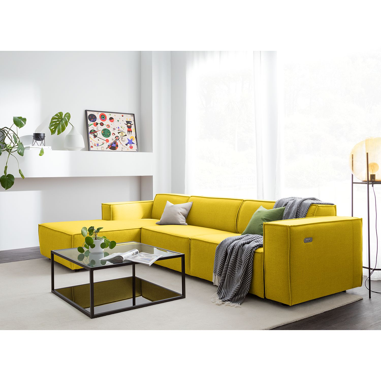 home24 Ecksofa Kinx II 2,5-Sitzer Gelb Webstoff 294x70x177 cm (BxHxT) Modern