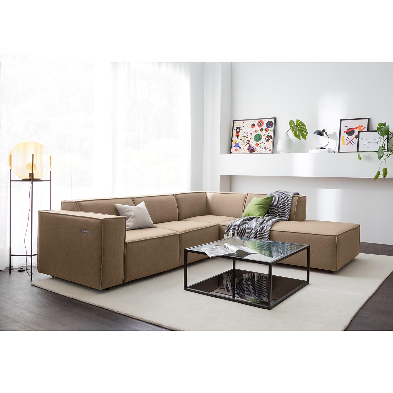 home24 Ecksofa Kinx III 2-Sitzer Grau/Braun Webstoff 259x70x234 cm (BxHxT) Modern