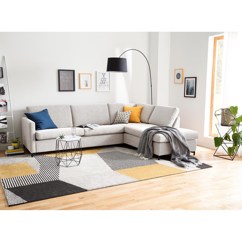 home24 Fredriks Ecksofa Cipo II Kies Strukturstoff 257x82x202 cm