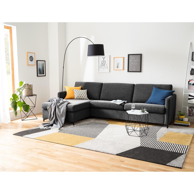 home24 Fredriks Ecksofa Cipo I Schwarz meliert Strukturstoff 297x82x156 cm