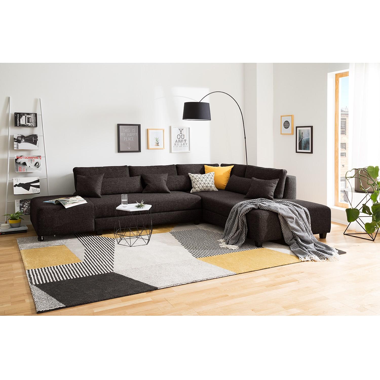 home24 Fredriks Ecksofa Apex Schwarzbraun Webstoff 305x82x221 cm mit Schlaffunktion