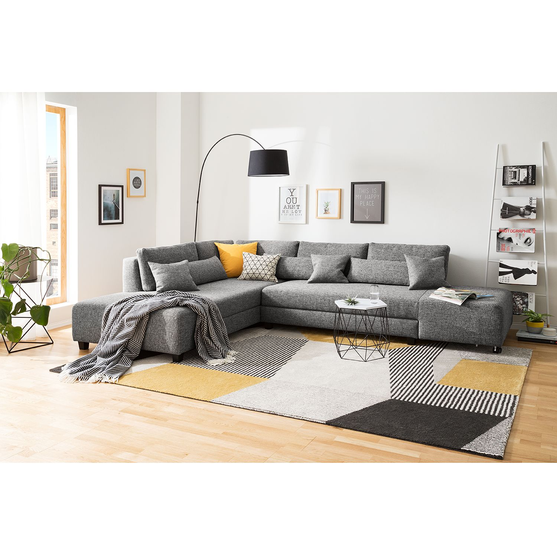 home24 Fredriks Ecksofa Apex Platin Webstoff 305x82x221 cm mit Schlaffunktion