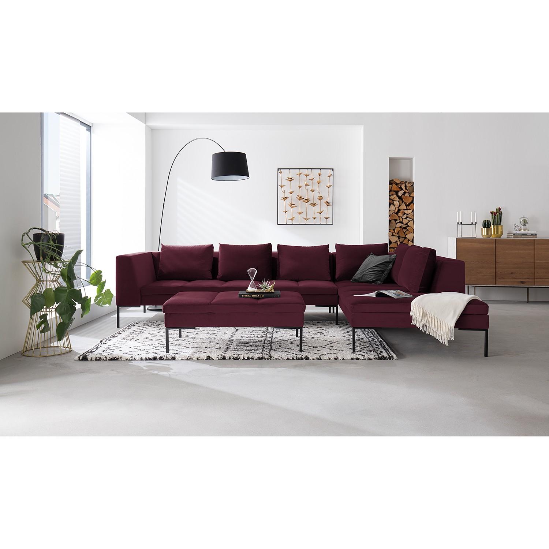 home24 Studio Copenhagen Ecksofa Madison Aubergine Samt 319x82x230 cm