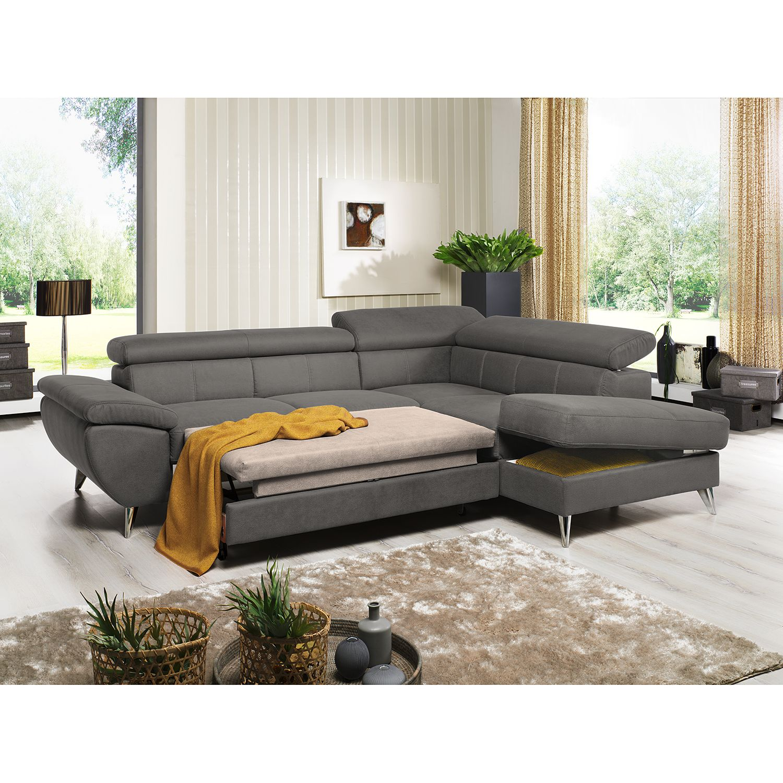 home24 loftscape Ecksofa Hodge Fango Echtleder 260x75x207 cm mit Schlaffunktion und Bettkasten