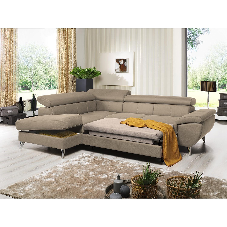 home24 loftscape Ecksofa Hodge Cappuccino Echtleder 260x75x207 cm mit Schlaffunktion und Bettkasten