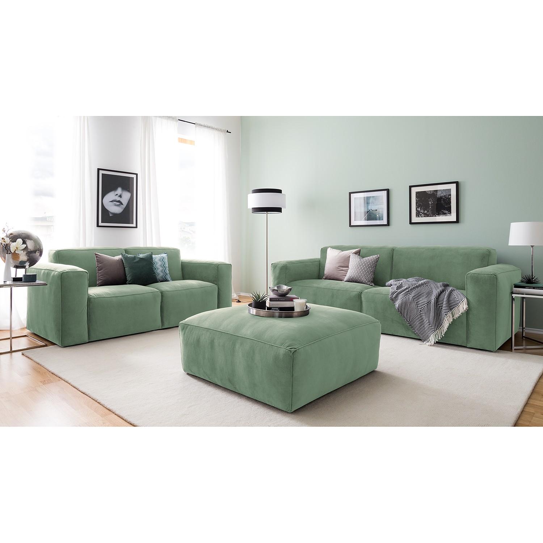 home24 Jack & Alice Polstergarnitur Greenwich Mintgrau Samt 242x75x96 cm | Wohnzimmer > Sofas & Couches > Garnituren