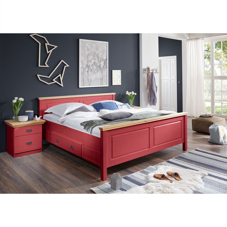 Schlafzimmermöbel - Nachtkommode Bergen - Maison Belfort - Rot