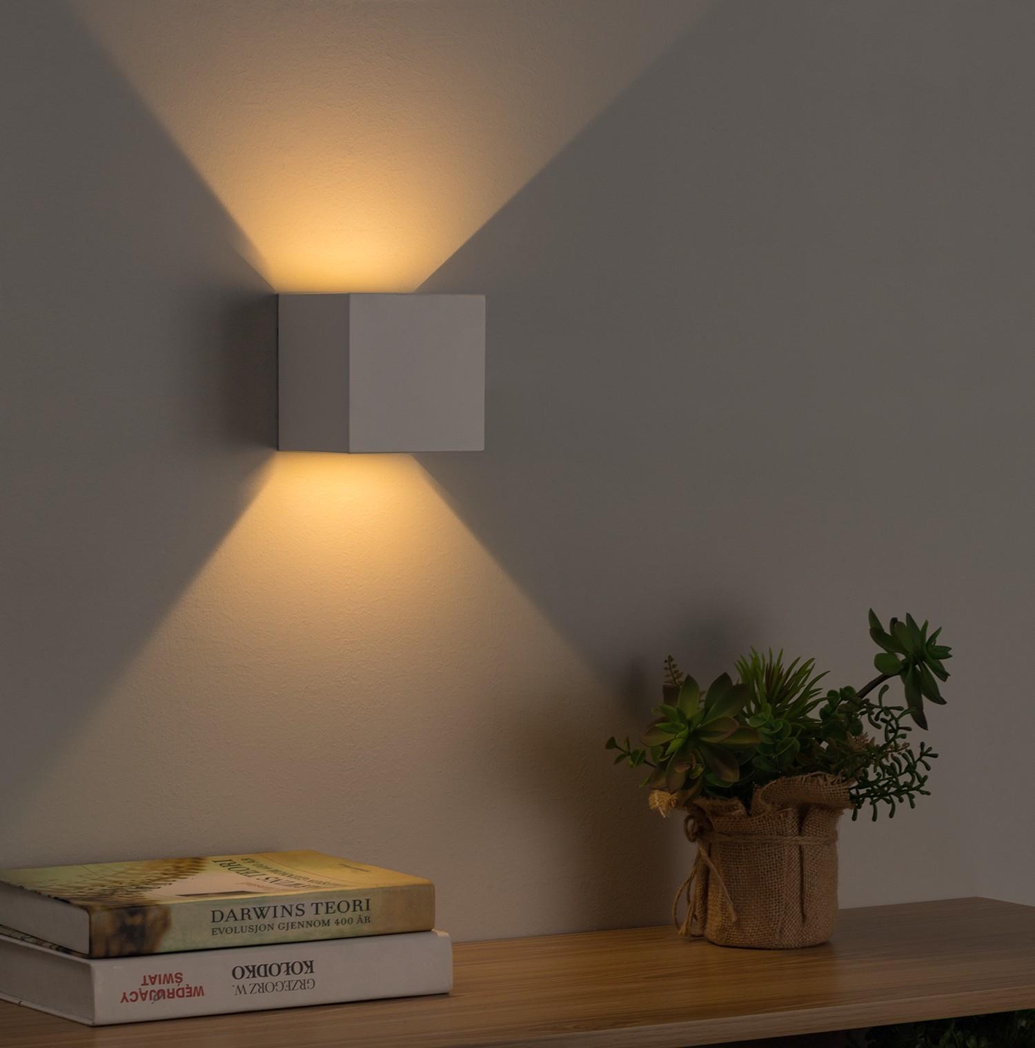 home24 LED-Wandleuchte Cube
