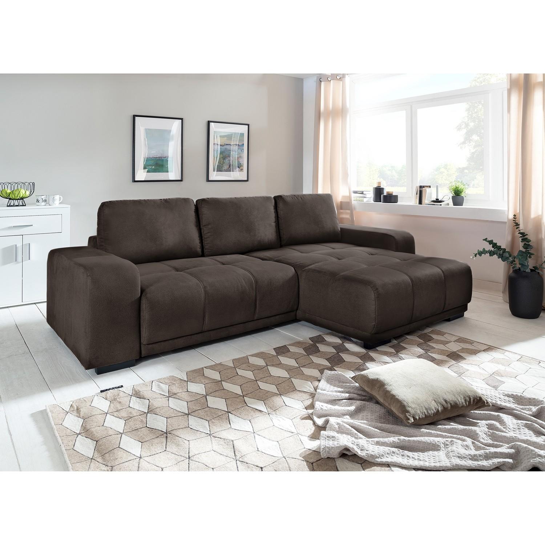 home24 Fredriks Ecksofa Albia Kokosnuss Braun Webstoff 270x66x166 cm mit Schlaffunktion und Bettkasten