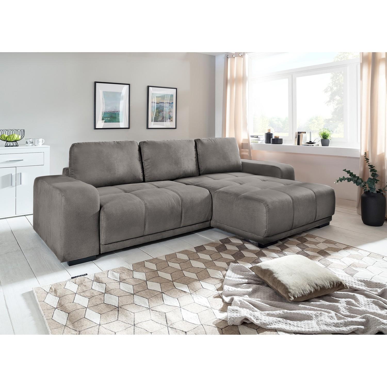 home24 Fredriks Ecksofa Albia Sahara Webstoff 270x66x166 cm mit Schlaffunktion und Bettkasten